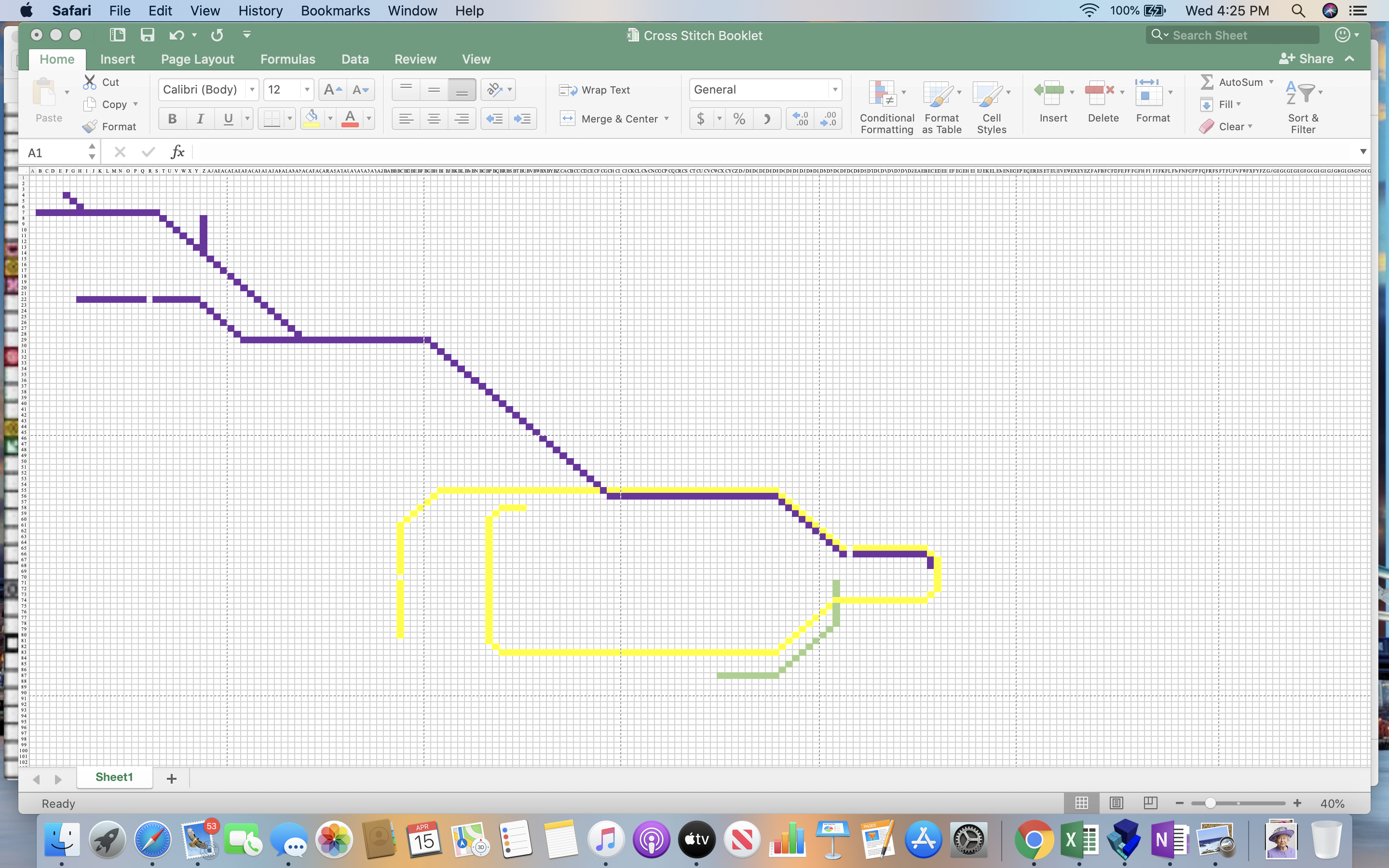 a screenshot of an excel spreadsheet showing a cross stitch pattern in progress. Currently pictured are the Metropolitan Line, the Circle Line, and the Waterloo and City Line