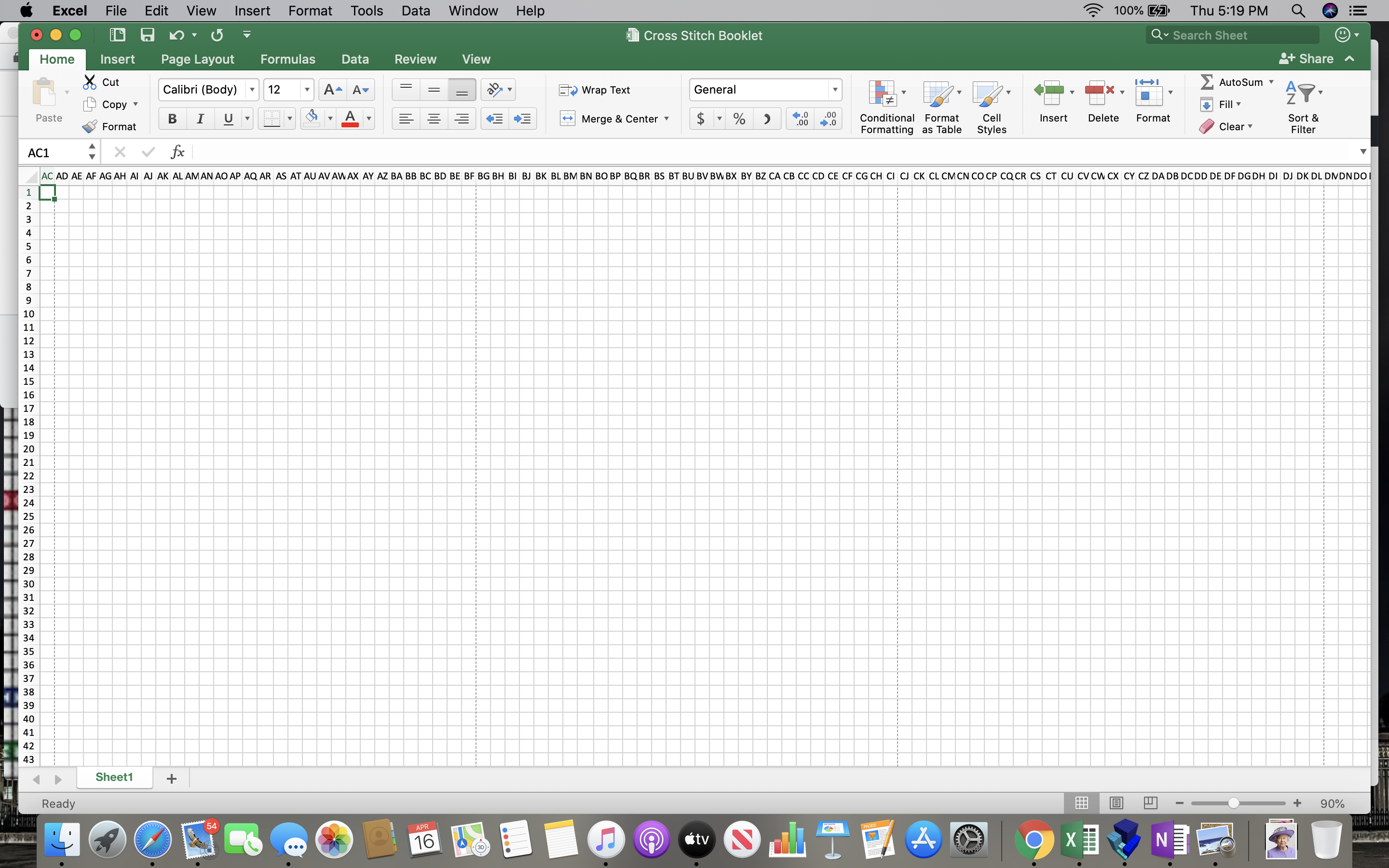 My empty spreadsheet set up as a cross stitch pattern grid in Microsoft Excel